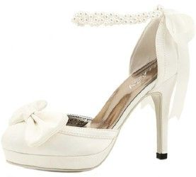 eec6637bff25 Beautiful Pearl Ankle Strap High Heel Wedding Shoes with Bow and Ribbon