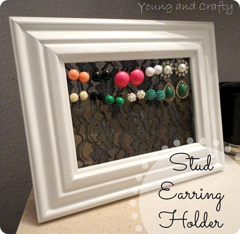 Earring holder for studscould use tulle too Im sure This would