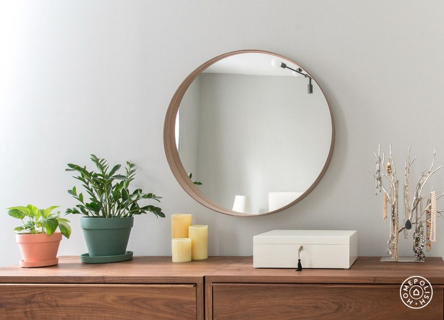 AMBER & DAVID | Bedroom Dresser Details | Ikea Mirror, West Elm planters on Room & Board Dresser.  Tali Roth Designs.