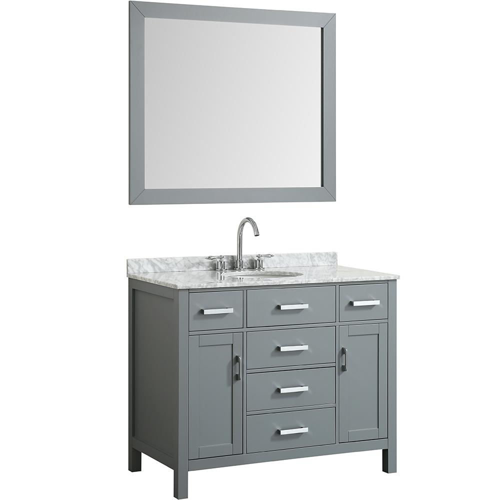 Beaumont Decor Hampton 43 In Bath Vanity In Gray With Marble
