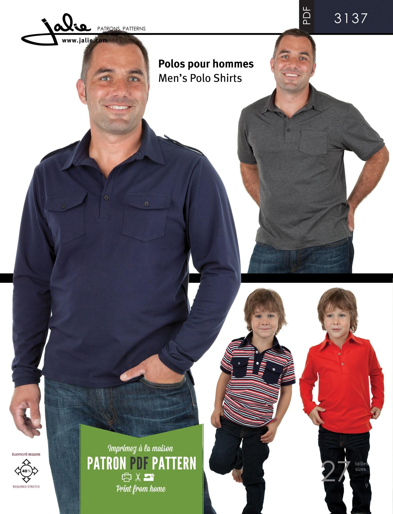 Jalie 3137 - Men and Boys Polo Shirts PDF Pattern | PDF Patterns ...