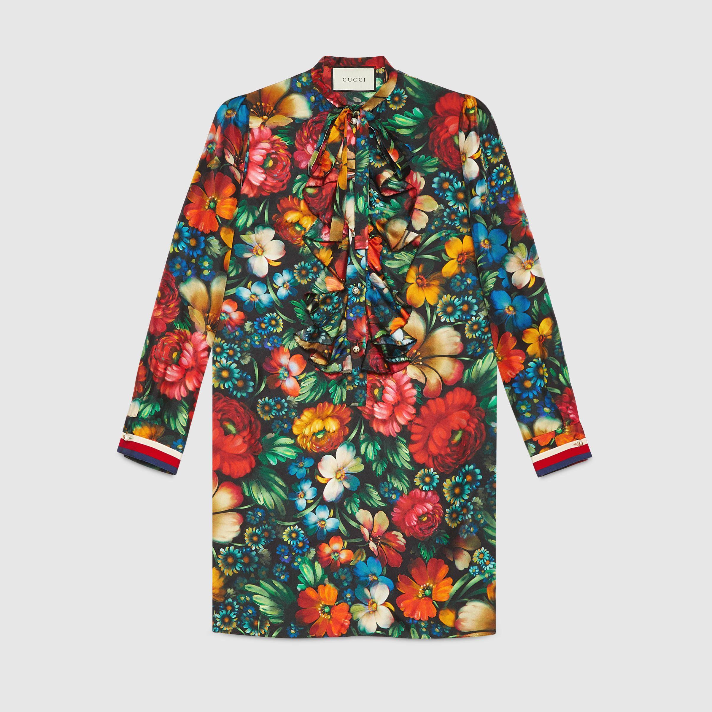 ac270edad74 Robe en soie à imprimé fleuri - Gucci Robes Femme 453014ZIP061106 ...