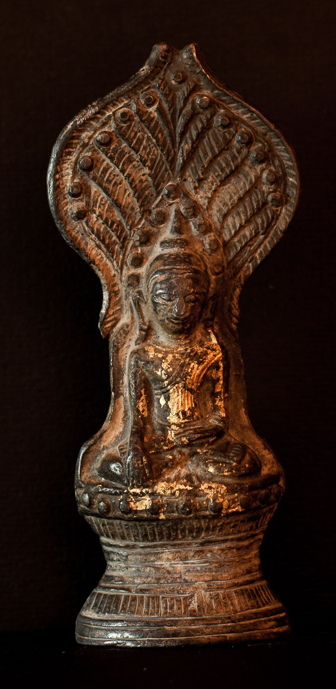 200 year old Buddhist Lead amulet cast in fine detail and has some ...