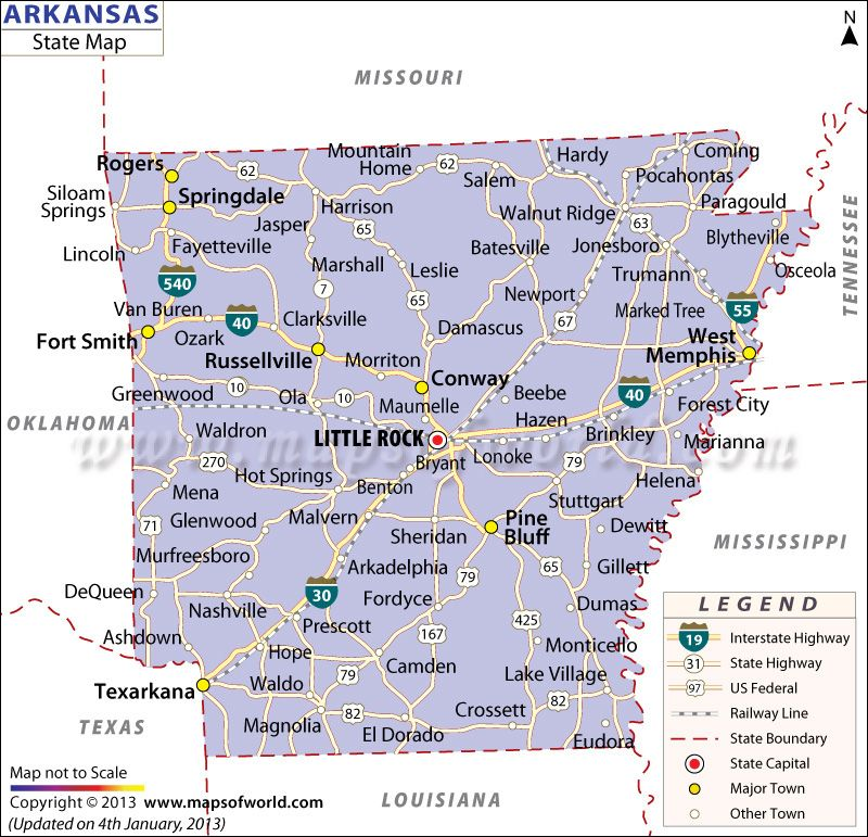 State Map Of Arkansas US States Pinterest Buckets And City - Map ou us