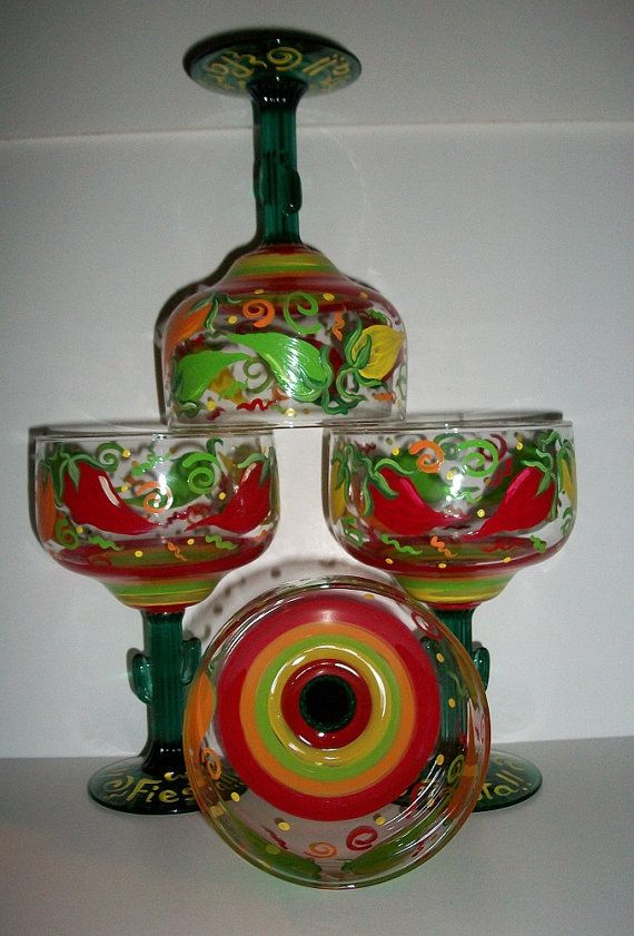 Set of 4 Hand Painted Red Chili Pepper Wine Glasses