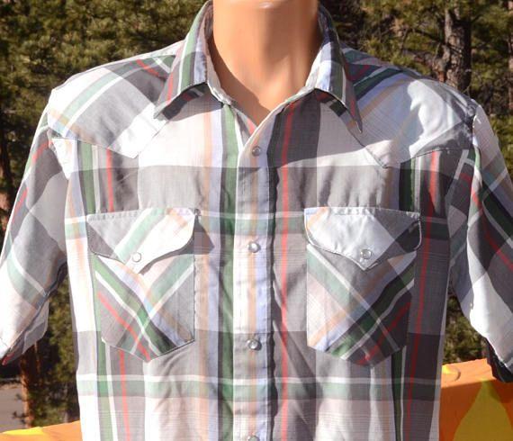 1b6d6233 vintage 70s plaid western shirt short sleeve pearl snaps | Vintage ...
