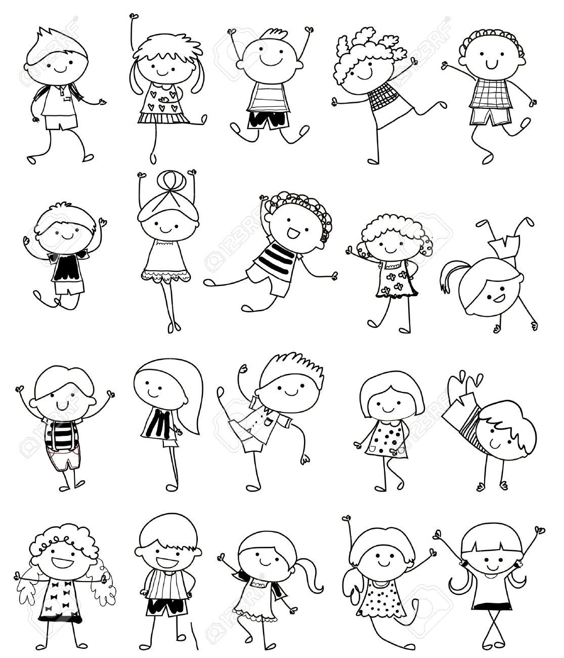 Croquis dessin groupe d 39 enfants illustrations cards - Dessin facile enfant ...