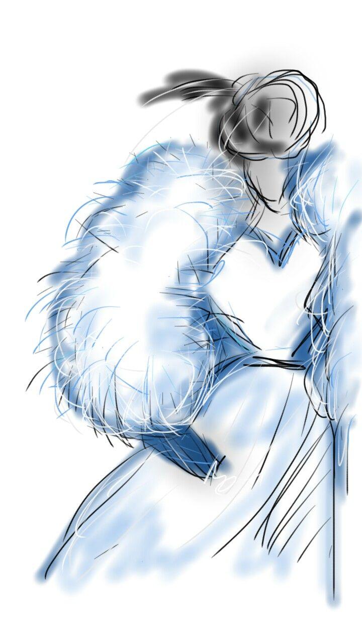 Blue fur sleeves