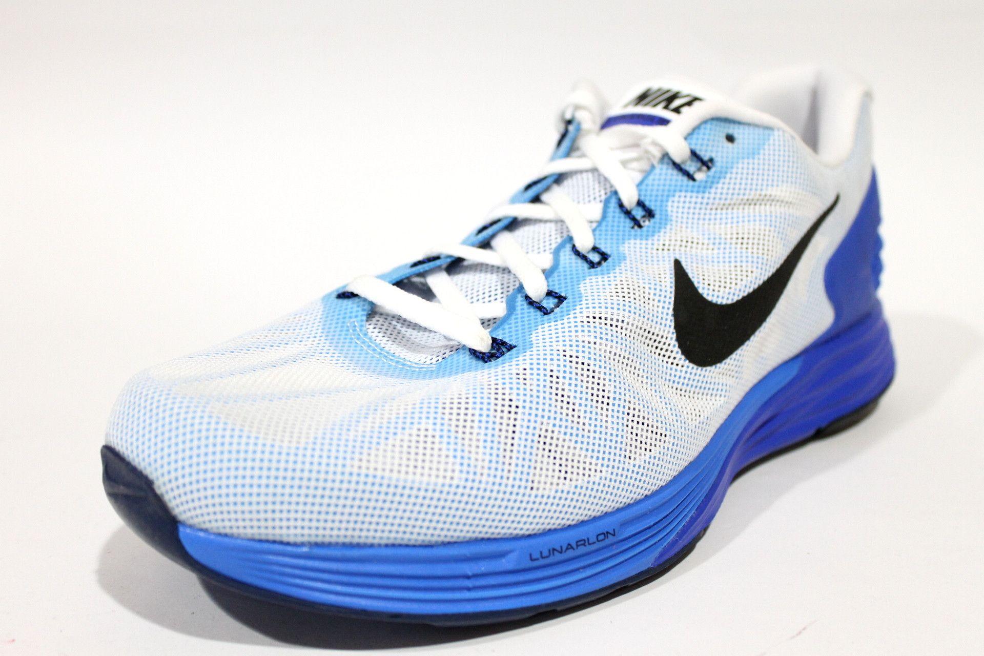 separation shoes f9989 d1241 Nike Men s Lunarglide 6 White Lyon Blue Running Shoes 654433 104