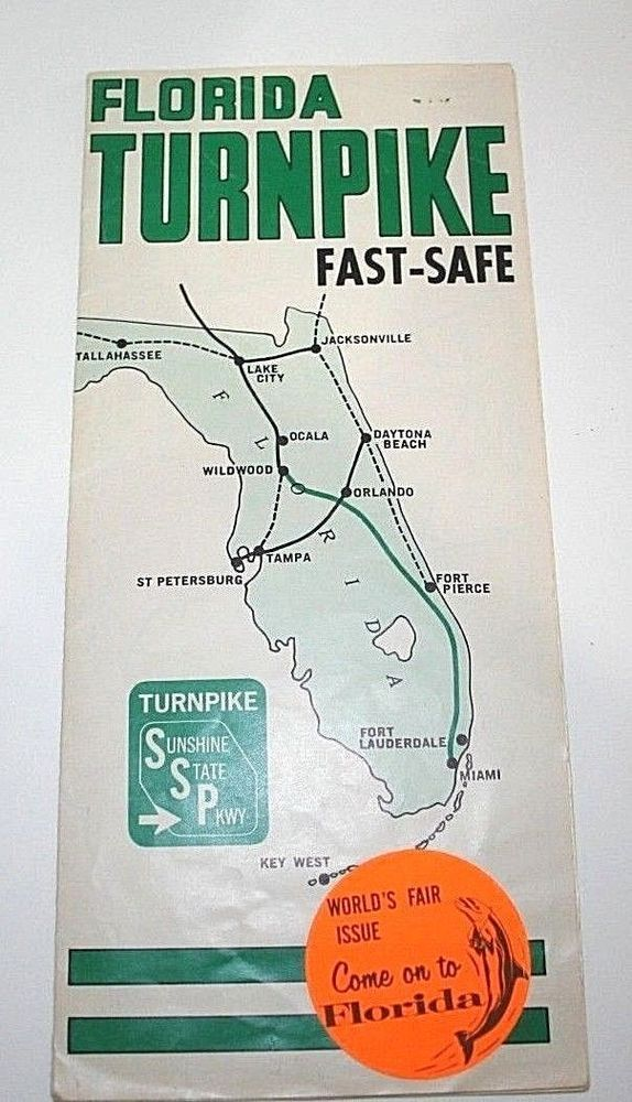 Florida Turnpike Map.Florida Turnpike Map 1964 Ny Worlds Fair Travel Brochure Sunshine