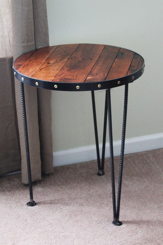 Reclaimed Wood End Table Round End Table Metal End Table Round