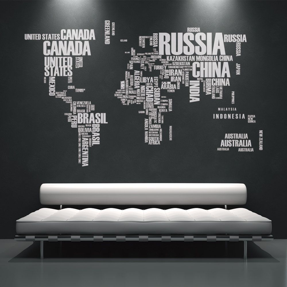 Wall Stickers Mondo.World Map Wall Decals Wall Stickers Country Names Text