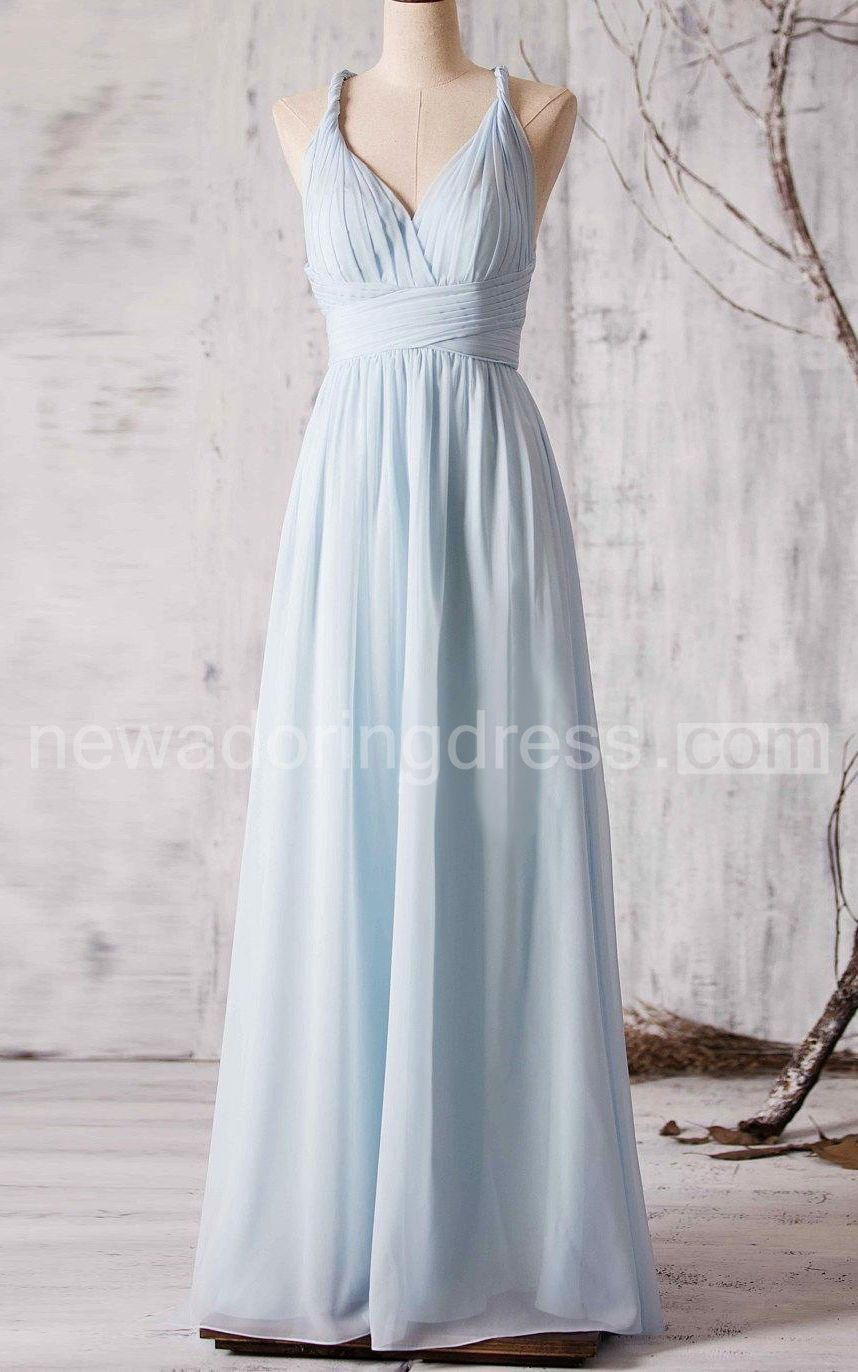 Usa line sleeveless long sky blue bridesmaid dress with cross