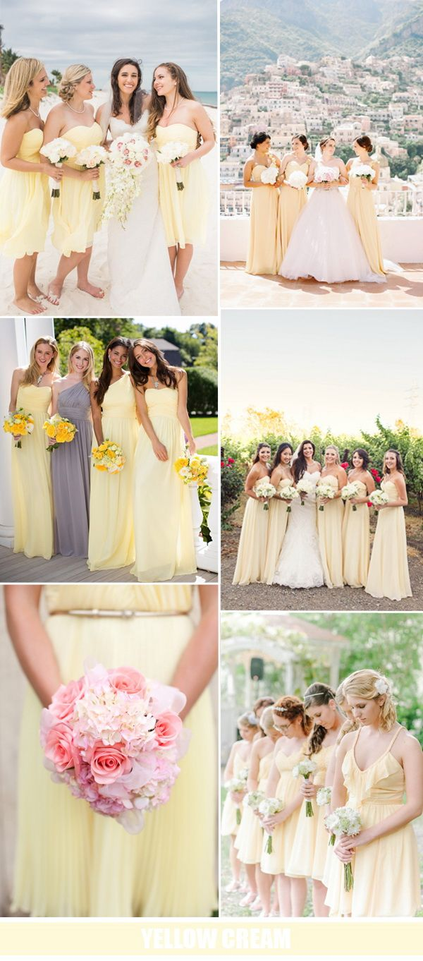 yellow cream bridesmaid dresses with grey base tone for summer wedding 2016                                                                                                                                                      More