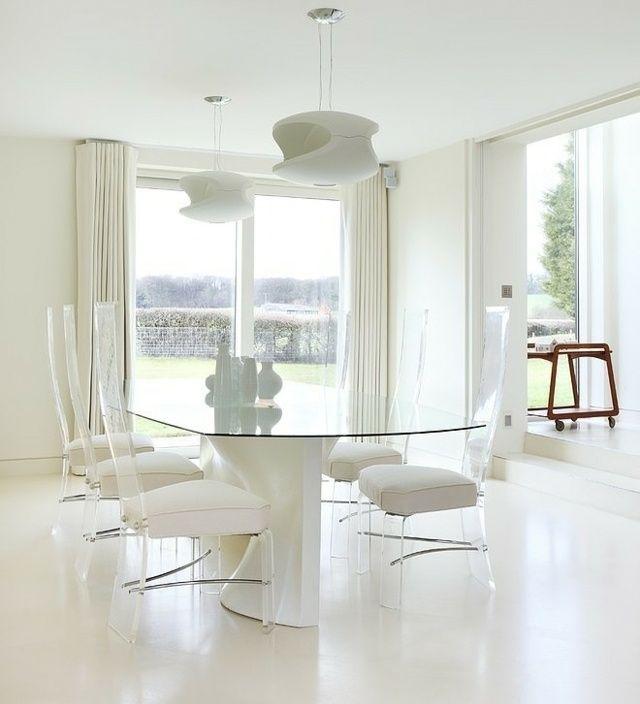 Esszimmer komplett weiß einrichten Pendelleuchten Stühle möbel - Esszimmer Modern Weiss