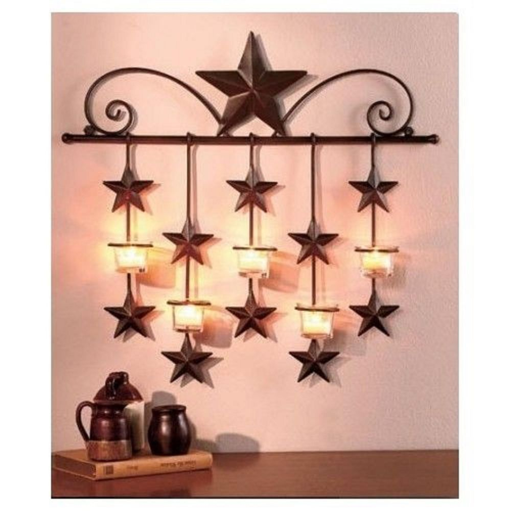 Rustic Primitive Stars Candle Wall Sconce Country Metal Decor Home