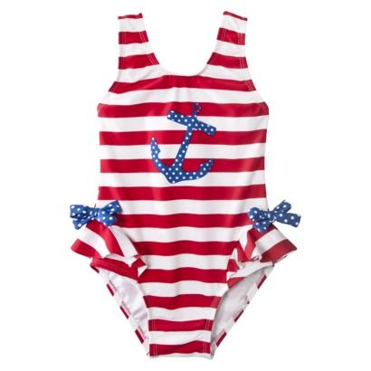 c8a45621e1554 Circo® Infant Toddler Girls 1-Piece Anchor Swim Suit - Red/White/Blue