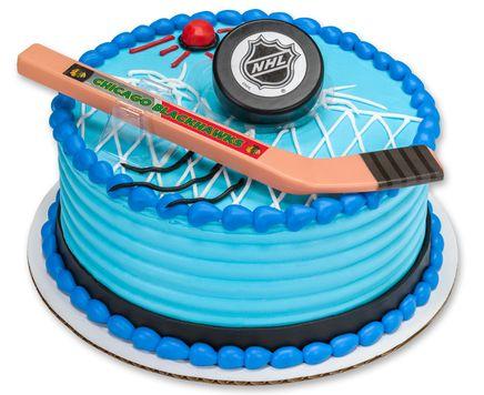 Nhl Hockey Cake Topper With Hockey Stick And Puck Personalized To Your Team This One Is Chicago Blackhawks Hockey Cakes Hockey Birthday Cake Hockey Birthday