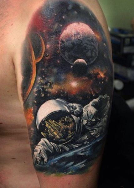 1cabc448e0825 70 Outer Space Tattoos For Men - Galaxy And Constellations. Men's Tattoos  Galaxy On Arm