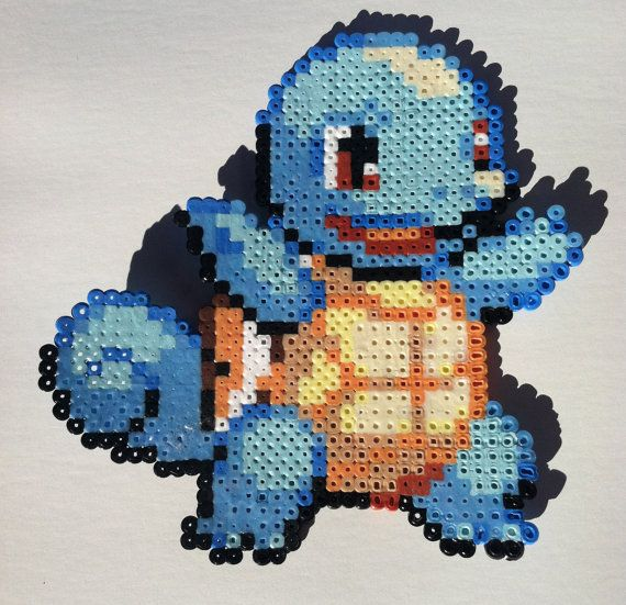 FREE Shipping Squirtle Pokemon Perler 8bit art by