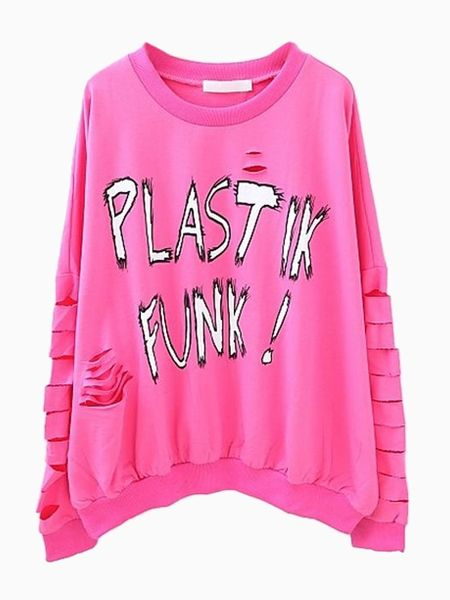 9962f320f8 Pink Punk Rip Sweatshirt with Graffiti Pattern