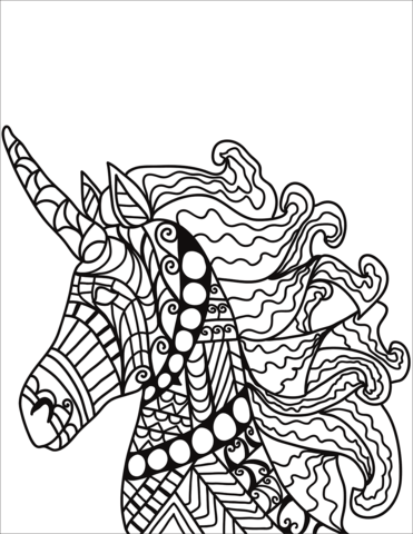 Unicorn Zentangle Coloring Page Cool Coloring Pages Unicorn Coloring Pages Horse Coloring Pages