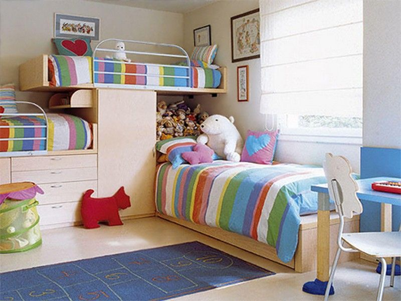 Small Bedroom Ideas With Bunk Beds Part - 15: Colorful Bedroom For Three Children: Colorful Kids Bunk Bed Furniture  Bedroom Set For 3 U2013 Architecture Design Ideas
