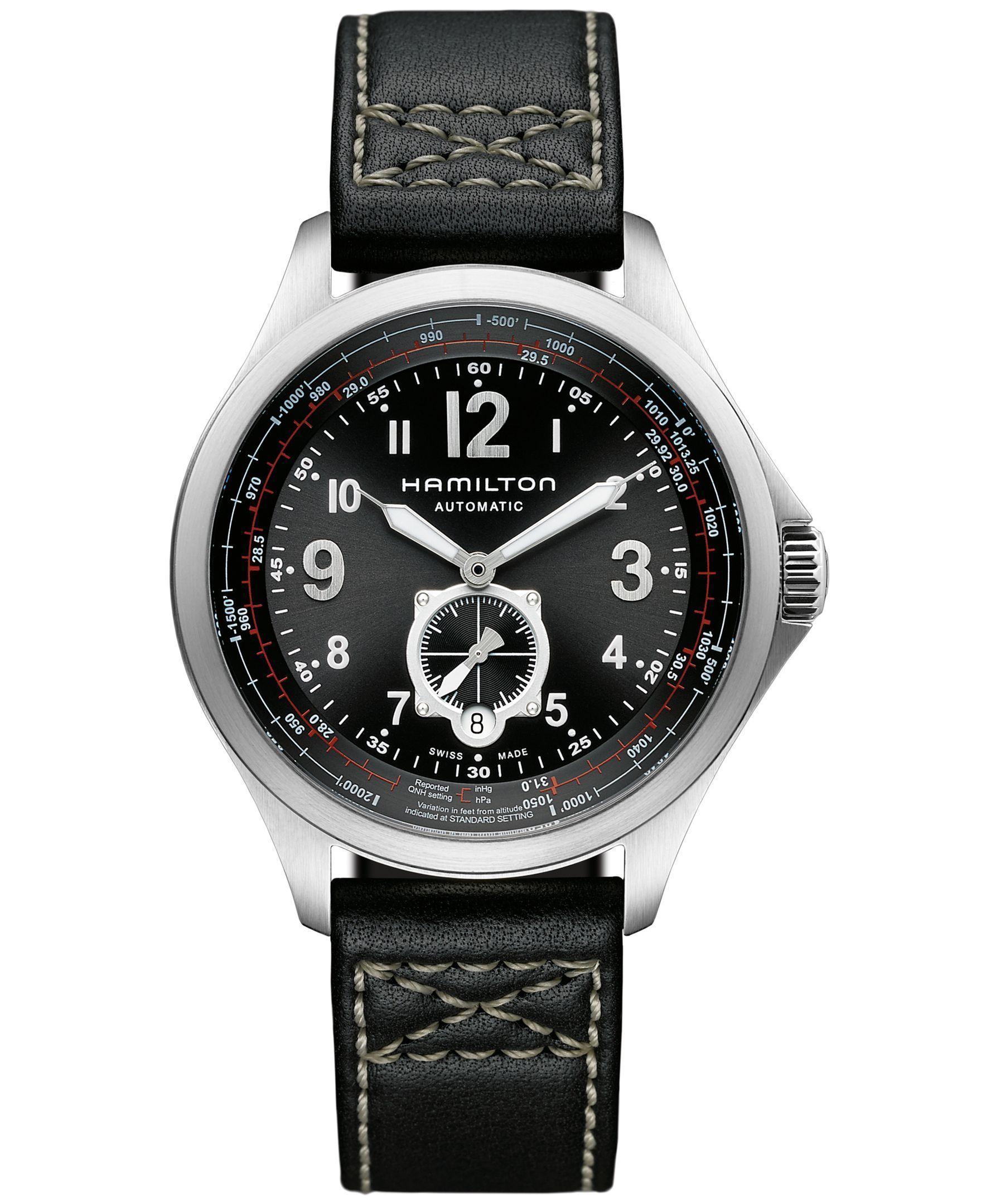 e4d02a26d Hamilton Watch, Men's Swiss Automatic Khaki Qne Black Leather Strap 42mm  H76655733