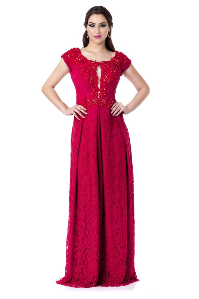 3d0f563c8 Siena - Vestido longo em renda com sobreposição em renda bordada no decote.  Marca Camila