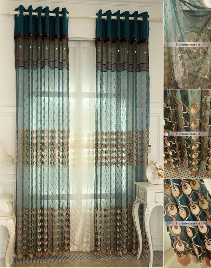 Teal French Style Best Peacock Feature Sheer Curtains Curtain Decor Curtains Sheer Curtains