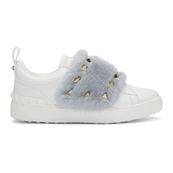 Valentino White Valentino Garavani Fur Laceless Rockstud Sneakers s7Ub2Yh8