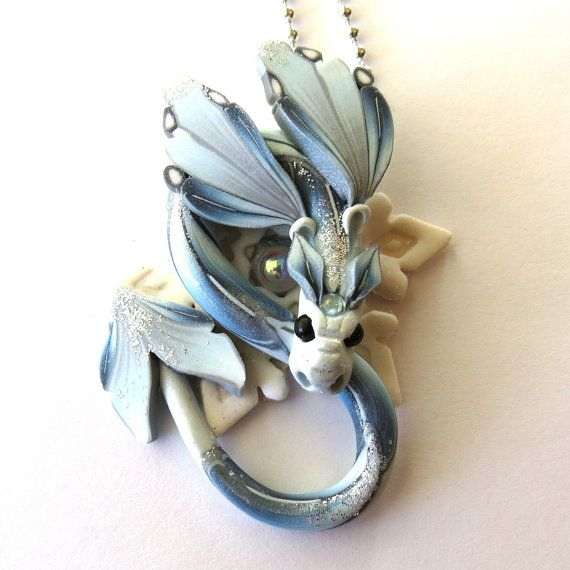 Frost Dragon Necklace, Snowflake Winter Fairy Rider, Polymer Clay Dragon Pendant, Ice Fairy Rider Dragon Jewelry