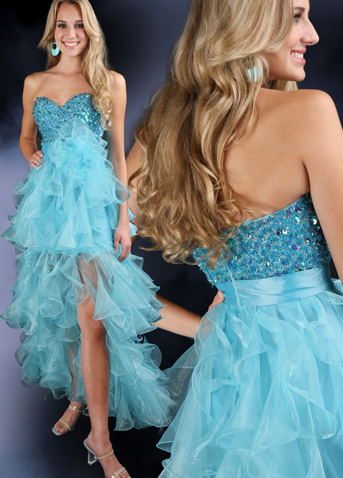 F71046 Strapless prom dresses with high low skirt. | high low ...