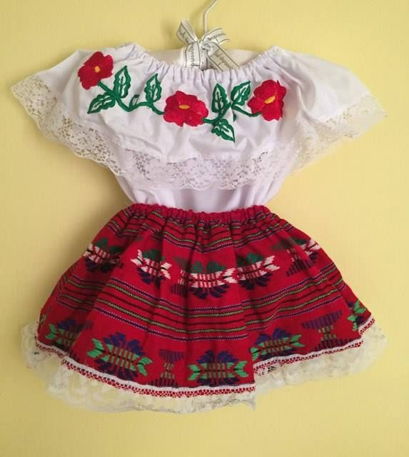 Mexican little girls dress size 0 SKIRT and Blouse 2pc Color Blue 5 de Mayo frida Khalo inspired day of the dead 35-36 cm