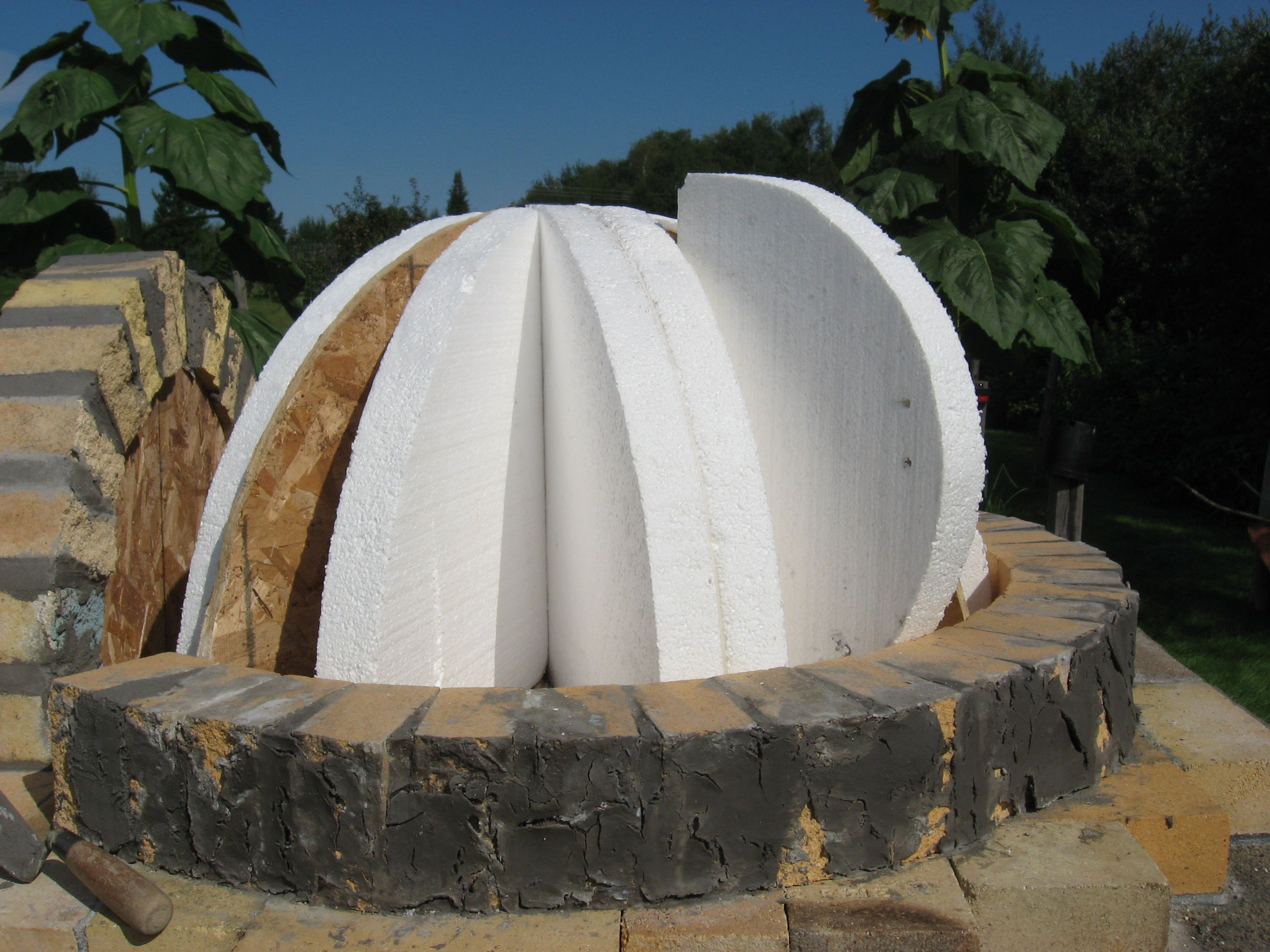 Door With Styrofoam Dome Form Brick Oven Outdoor