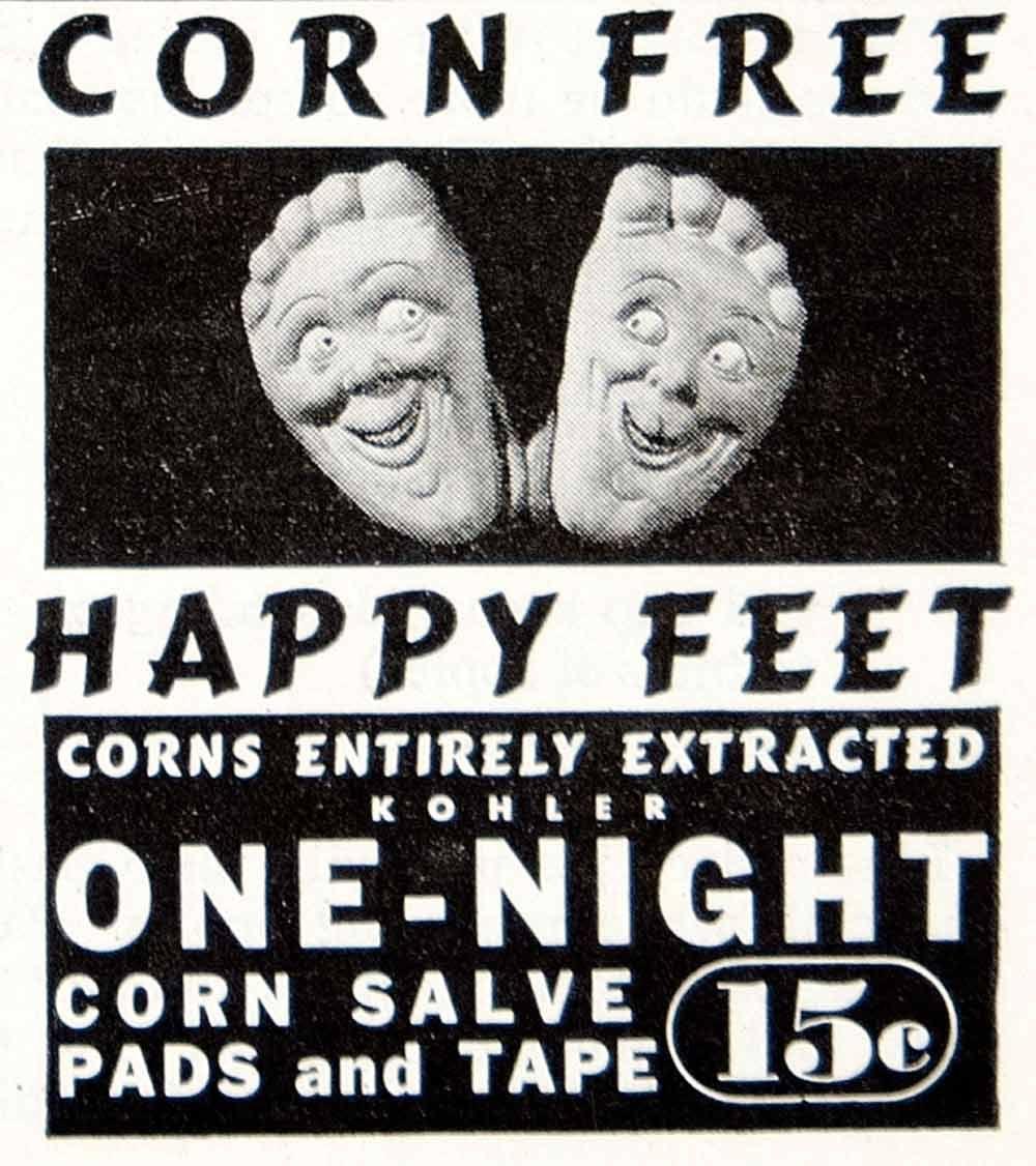 Ad Vintage Kohler OneNight Corn Salve Pads Removal Happy Feet