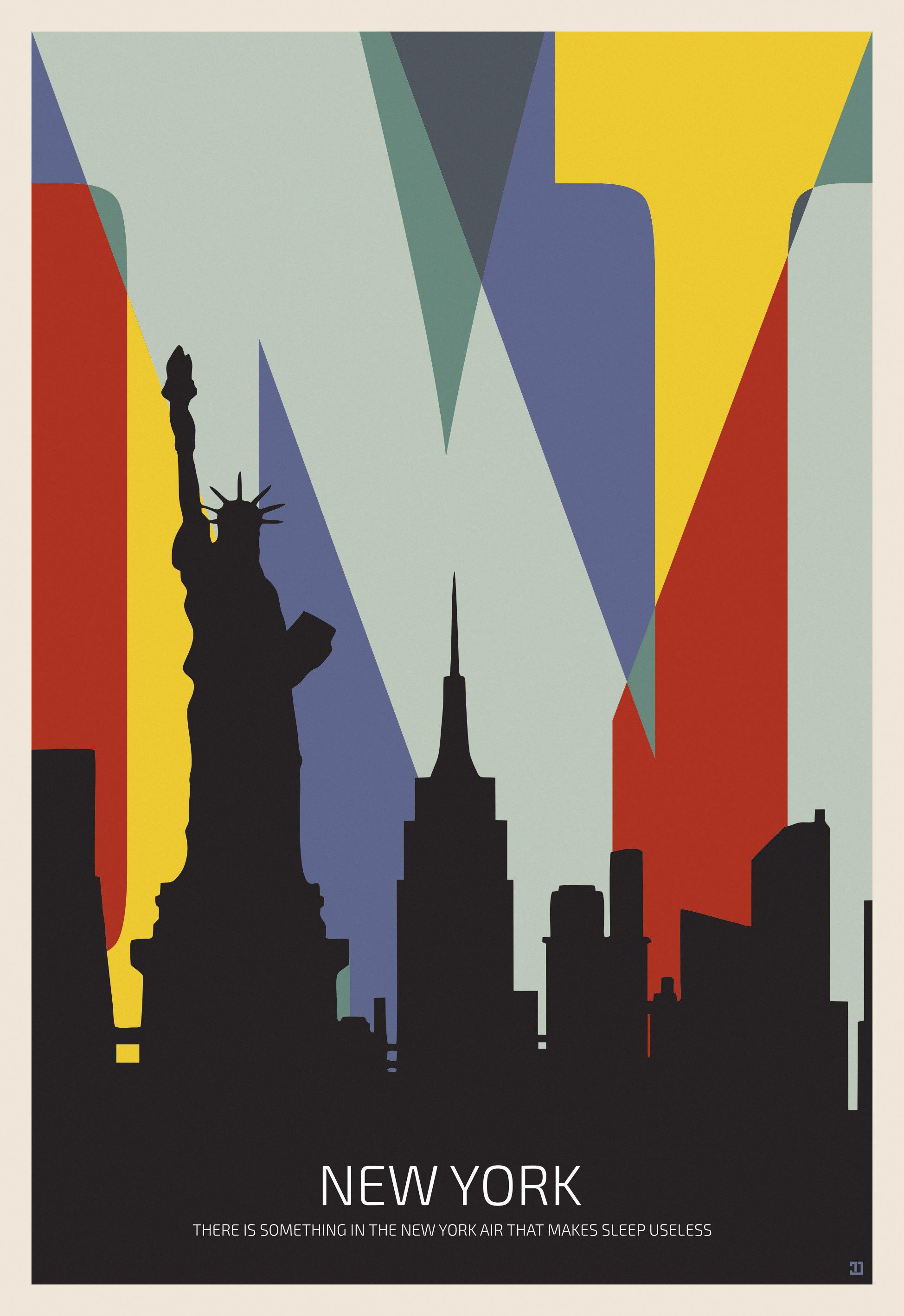 New York City Poster Colorful Typography Wall Art New York Silhouette Poster High Quality Digital File Digital Art Design Typography Wall Art Art Deco Artwork