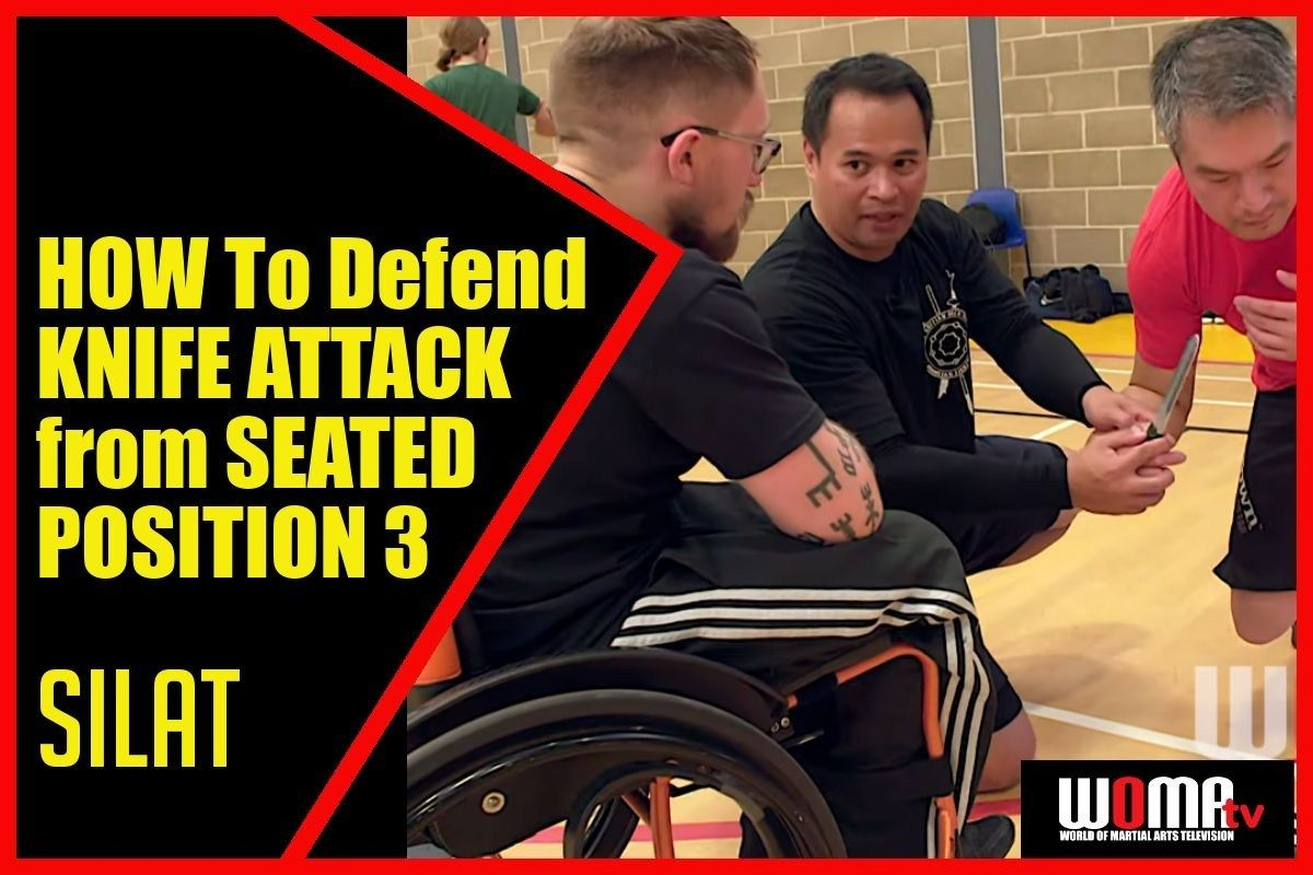 How to defend knife attack back break from seated position
