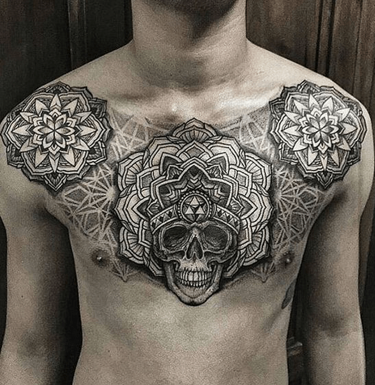 Simple Skull On Chest Tattoo Tattoos For Guys Chest Piece Tattoos Tattoos