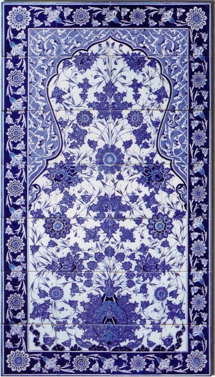 80x140cm - Blue Love Iznik Art Ceramic Floral Tile Panel | Pinterest ...