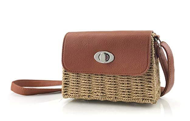 c7a4781821f2 Vintge Straw Basket Case Cross Body Bag Womens Small Vacation Purse (Brown)  Aesthetic Vintage