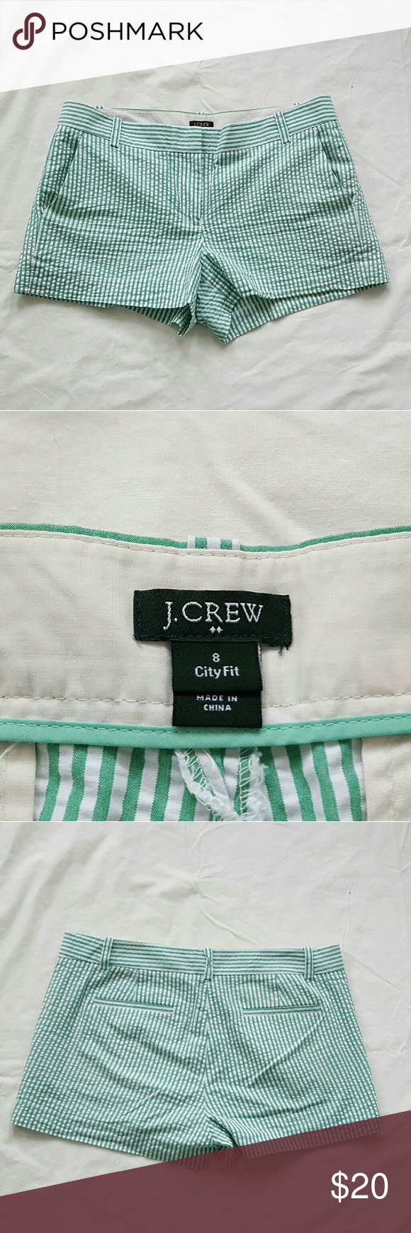 J. CREW FACTORY city fit seersucker shorts Kelly Green and white striped seersucker shorts.  Zip fly with button and hook closure. J. Crew Factory Shorts