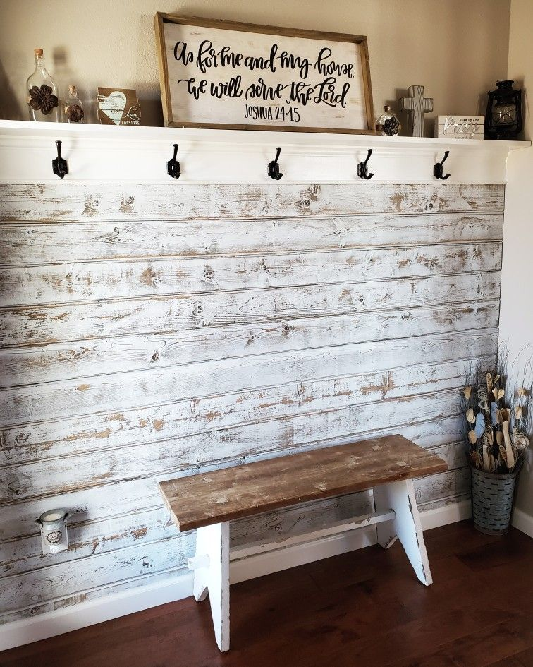Entryway With Distressed Wood Wall Farm House Living Room Farmhouse Decor Living Room Wood Walls Living Room