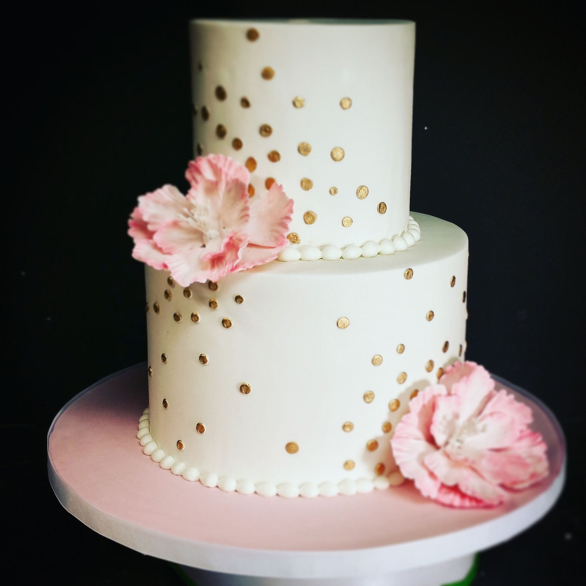Pink And Gold Polka Dot Birthday Cake With Peony Cute Birthday
