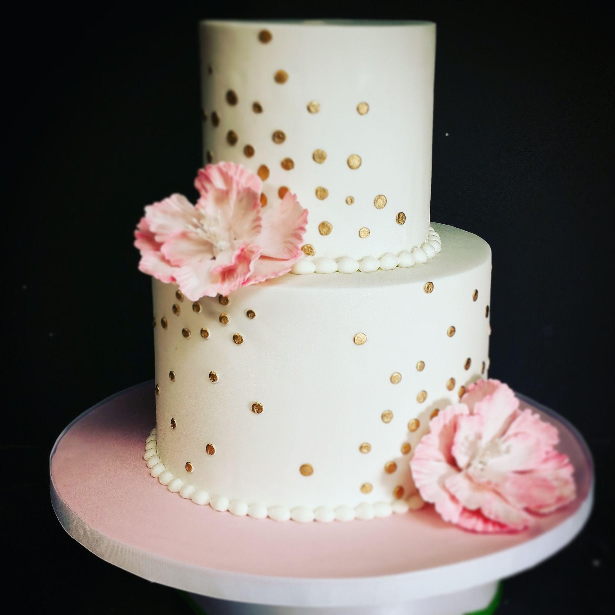Pink and Gold Polka Dot Birthday Cake Blue Sheep Bake Shop