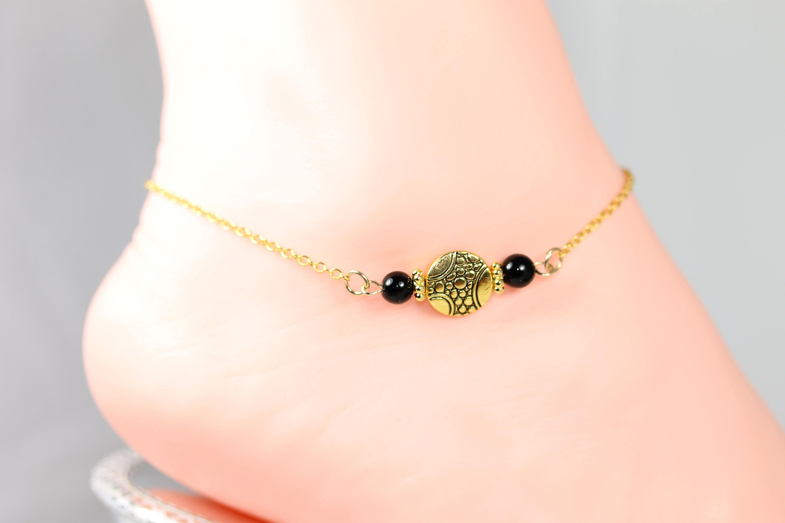 gold pin summer jewelry foot bracelet ankle anklets women anklet black fill onyx for