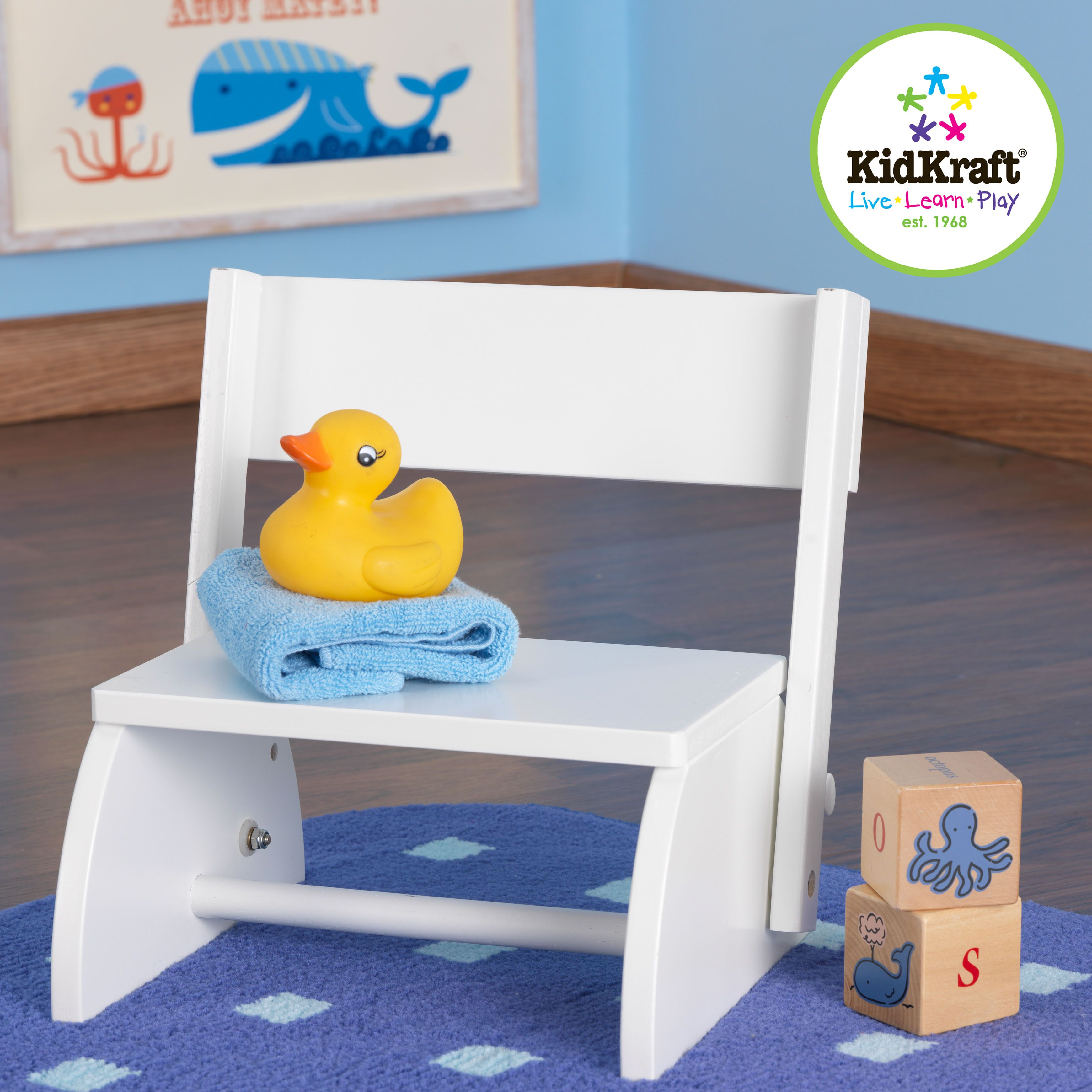 Kidskraft White colored Flip Stool From Buy Buy Baby ($37.99), could ask friend to paint/personalize? Also could use as time out chair?