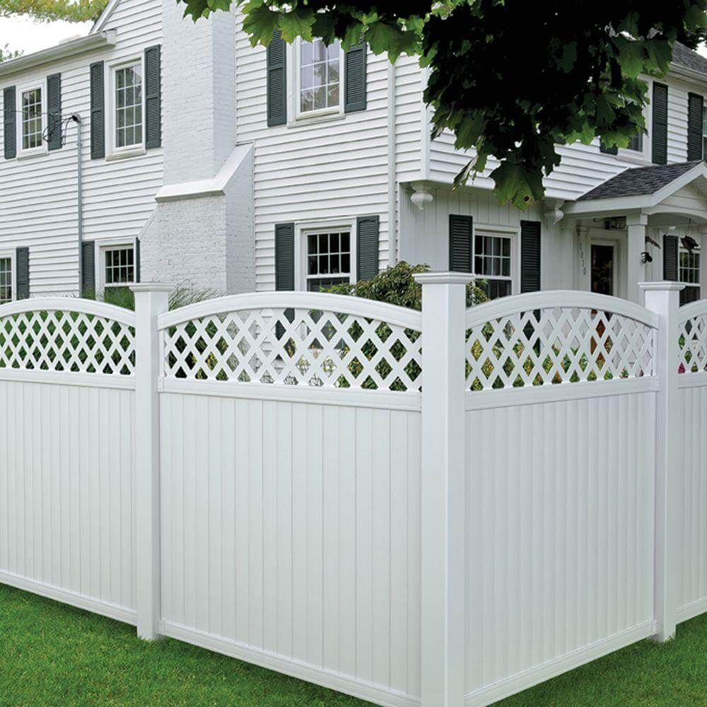 Multi colored fence panel without painting fence for sale privacy panels for open deck study veranda lewiston 6 ft h x 6 ft w arched lattice top vinyl fence panel the home depot baanklon Choice Image