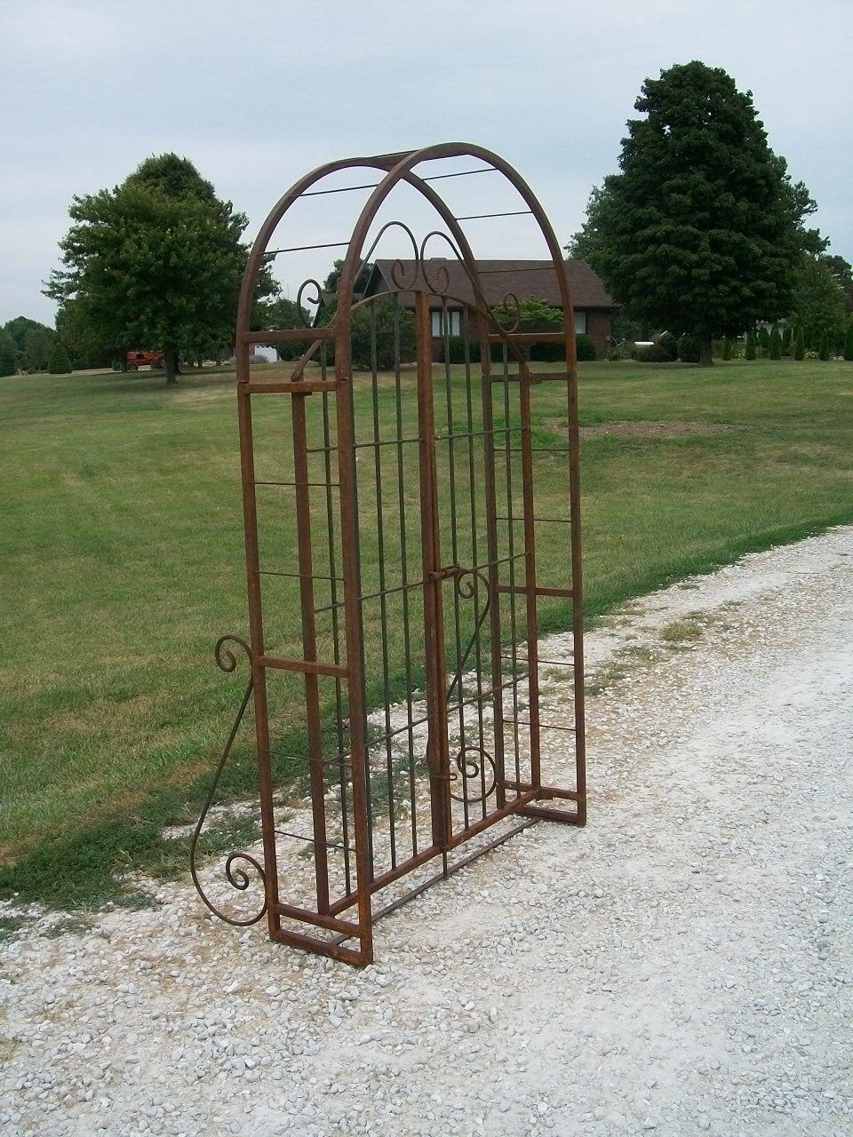 Wrought Iron 6 Arbor Gate Combo - Vintage Garden Arch