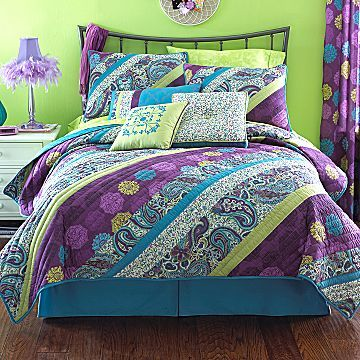 Bed set i got this purple teal and lime green - Green and purple comforter ...